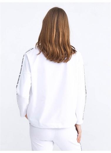 Xint XINT Yuvarlak Yaka Pamuklu Rahat Kesim Sweatshirt Beyaz